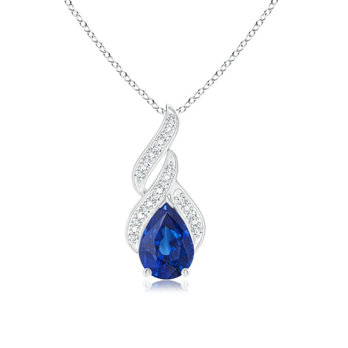 Angara Round Blue Sapphire Solitaire Pendant with Diamond Bale in Platinum NDmTXxUY
