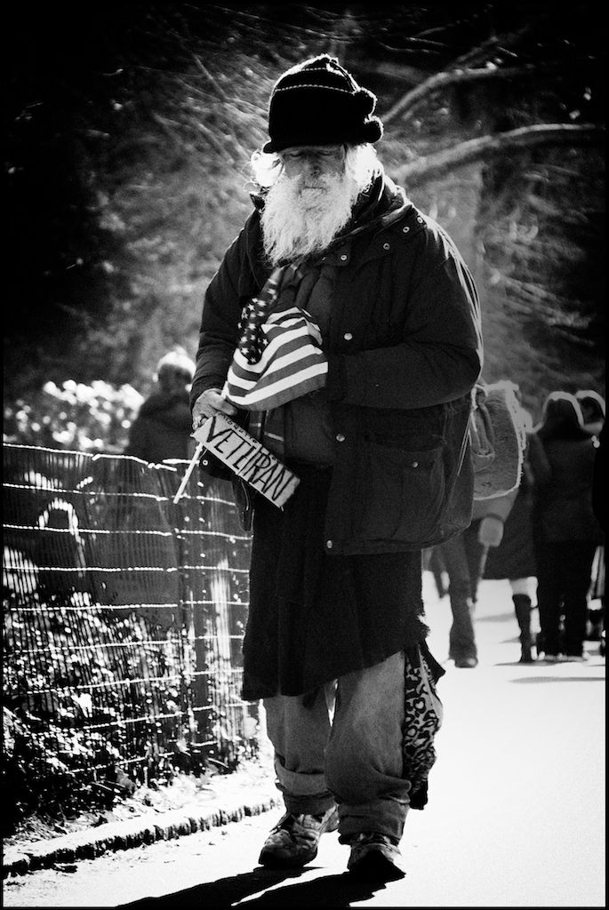 Homeless veteran in New York  -  Why are not we... Americans...taking care of our vets...they took care of us...freedom is not free... ?