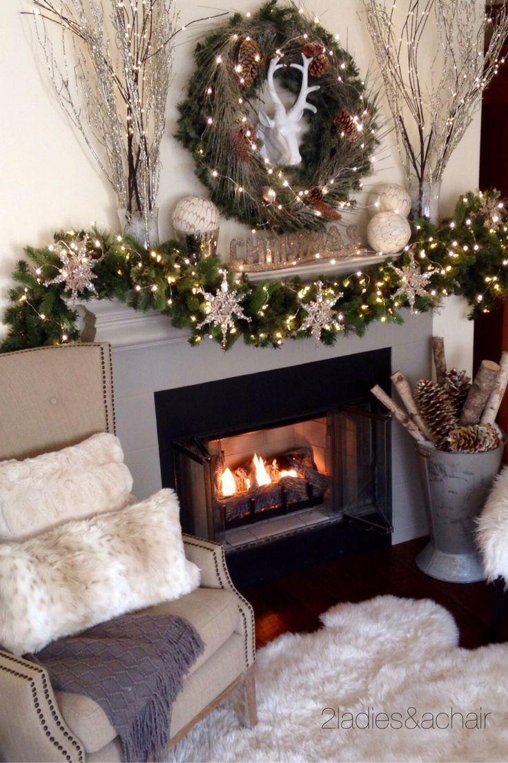 2 Ladies A Chair Christmas Fireplace Decor Mantel Design Thanksgiving Mantel Decor