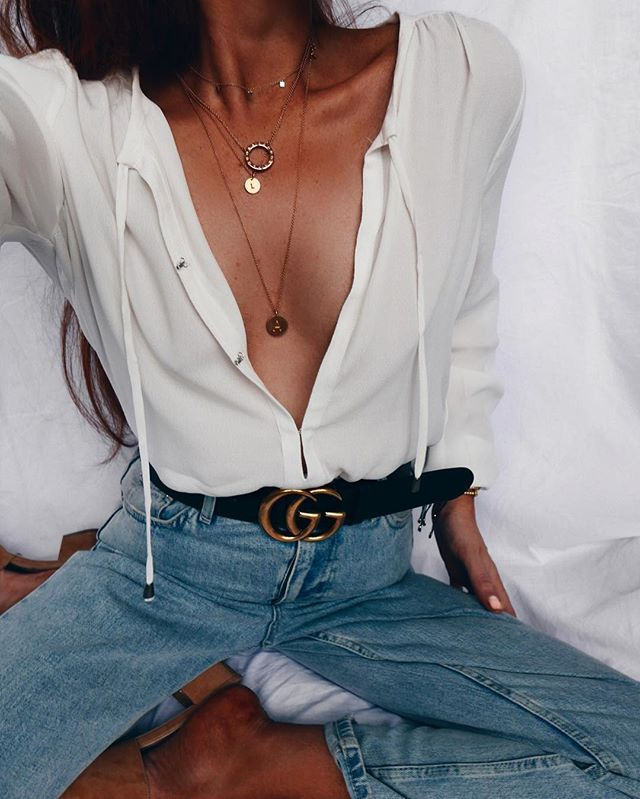 Sundayfie  @loversfriendsla x @revolve peekaboo blouse and @topshop mom jeans... And @gucci