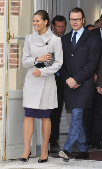 Crown Princess Victoria of Sweden (L) and Prince Daniel of Sweden (R) arrive to attend a visit at Chateau La Grange on September 27, 2010 in Savigny-le-Temple, France.