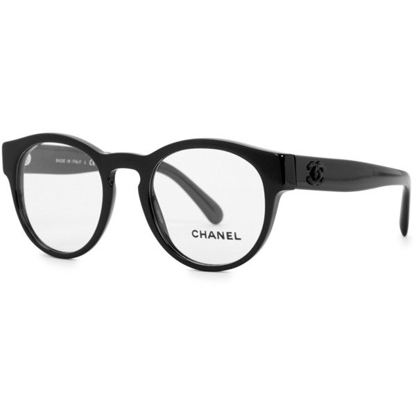Chanel Black round-frame optical glasses (2,490 GTQ) ❤ liked on Polyvore featuring accessories, eyewear, eyeglasses, lens glasses, chanel eyeglasses, chanel, chanel eye glasses and chanel eyewear