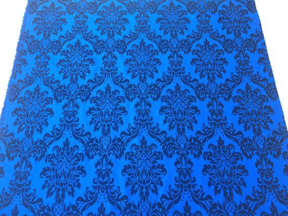Royal Blue damask taffeta fabric Black velvet by TheFabricShopUK