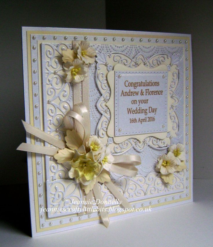 Wedding Day Card - using dies from Creative Expression / Sue Wilson, New York Union Square, Canadian Border, Corner & Tag Set, Camelia Complete Petals and the Beaded Fanfare Embossing Folder. I've also used a Tonic Layering Square and Spellbinders Labels Sixteen. Flowers from Wild Orchid Crafts,  Centura Pearl Card from Crafters Companion and Ivory & Cream Card from Papermilldirect.