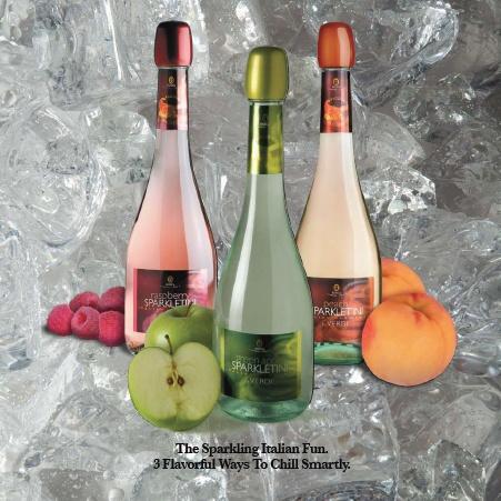 Verdi Sparkletini: All - natural Sparkling Italian Wine comes in Peach, Raspberry and Green Apple (118 cal)