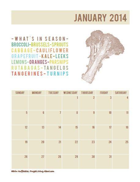 Free Printable: What's In Season 2014 Calendar