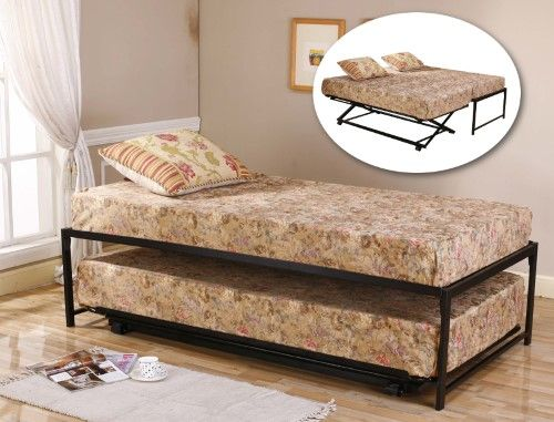 $602 Black Metal Twin Size HiRise Day Bed (Daybed) Frame & Pop Up Trundle