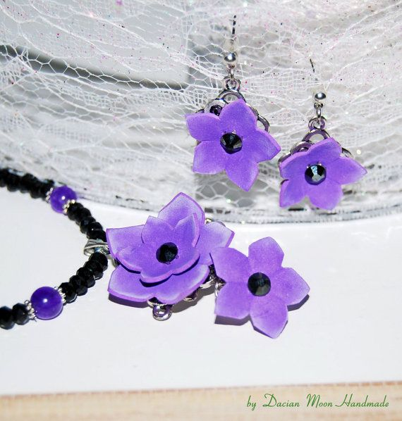 Enchanted Garden : Violet jewelry set violet by DacianMoonHandmade