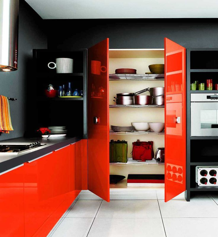 Kitchen Cabinet Design Idea With Red And Black Kitchen Cabinet Decoration Part 59