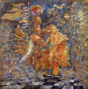 "Artist Elvira Baranova, Painting, ""Twilight Warrior""."