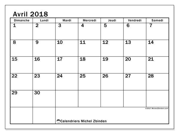 Calendrier avril 2018 (50DS). Calendrier gratuit à imprimer.
