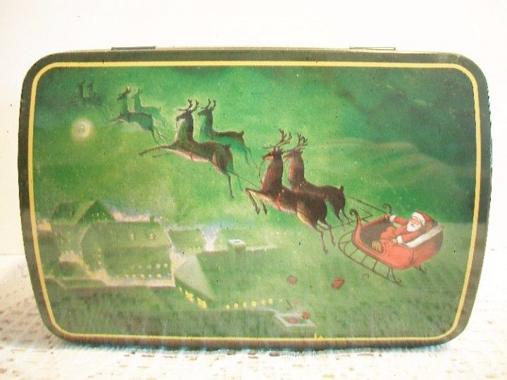 Green Santa in his Sleigh Christmas Tin Container Holiday Home Decor