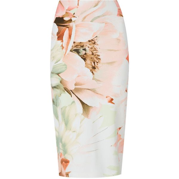 Scuba Floral Pencil Skirt M&S found on Polyvore