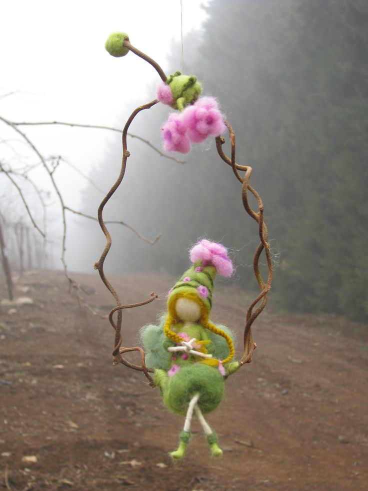 Needle felted fairy sitting on a twig, waldorf inspired