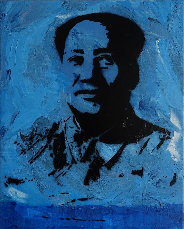 "Olivier Carpent • ""Mao blue, façon Warhol"" • Peinture acrylique sur toile • KAZoART  #art #artcontemporain #oeuvre #galereidart #streetart"