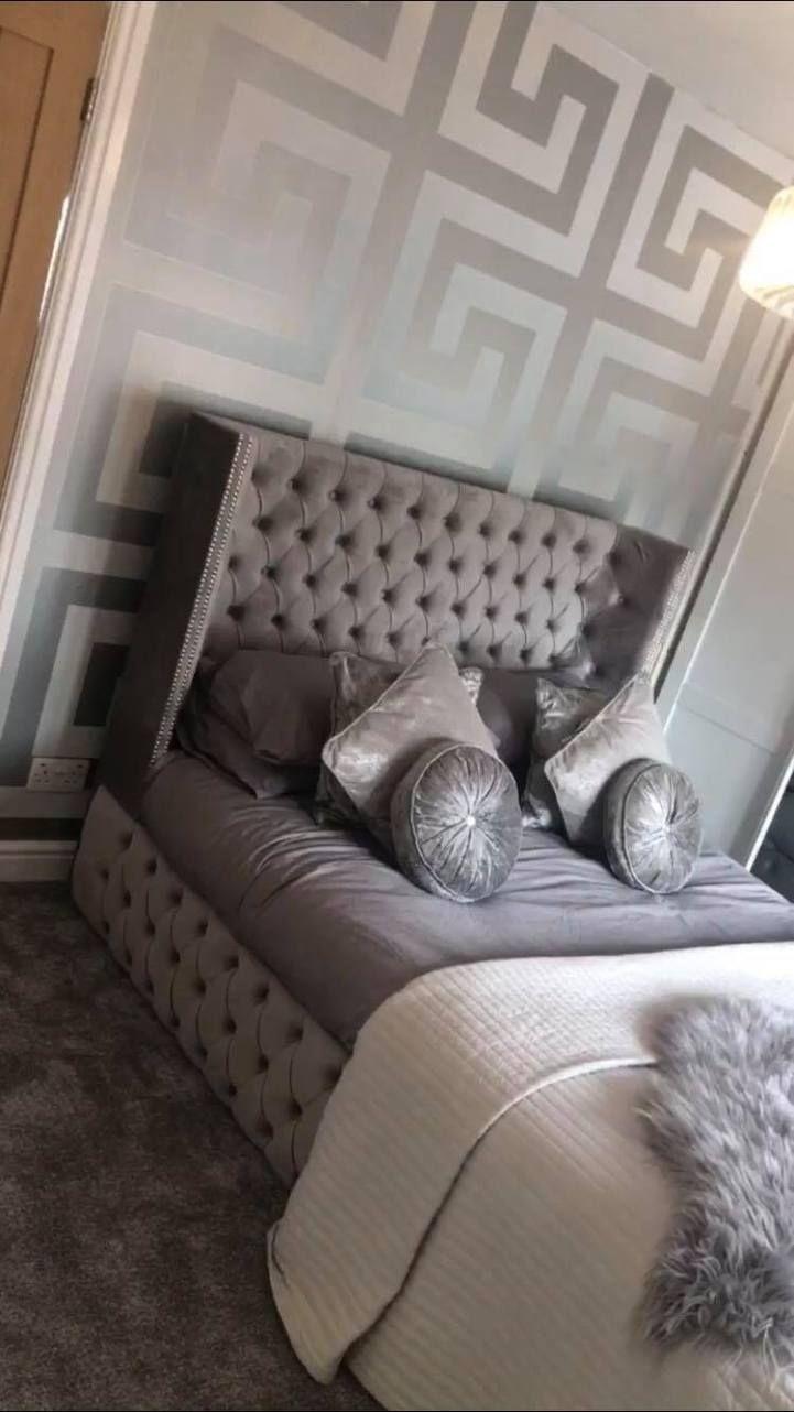 Luxe Curved Wingback Plush Velvet Bed In 2020 Velvet Bed King