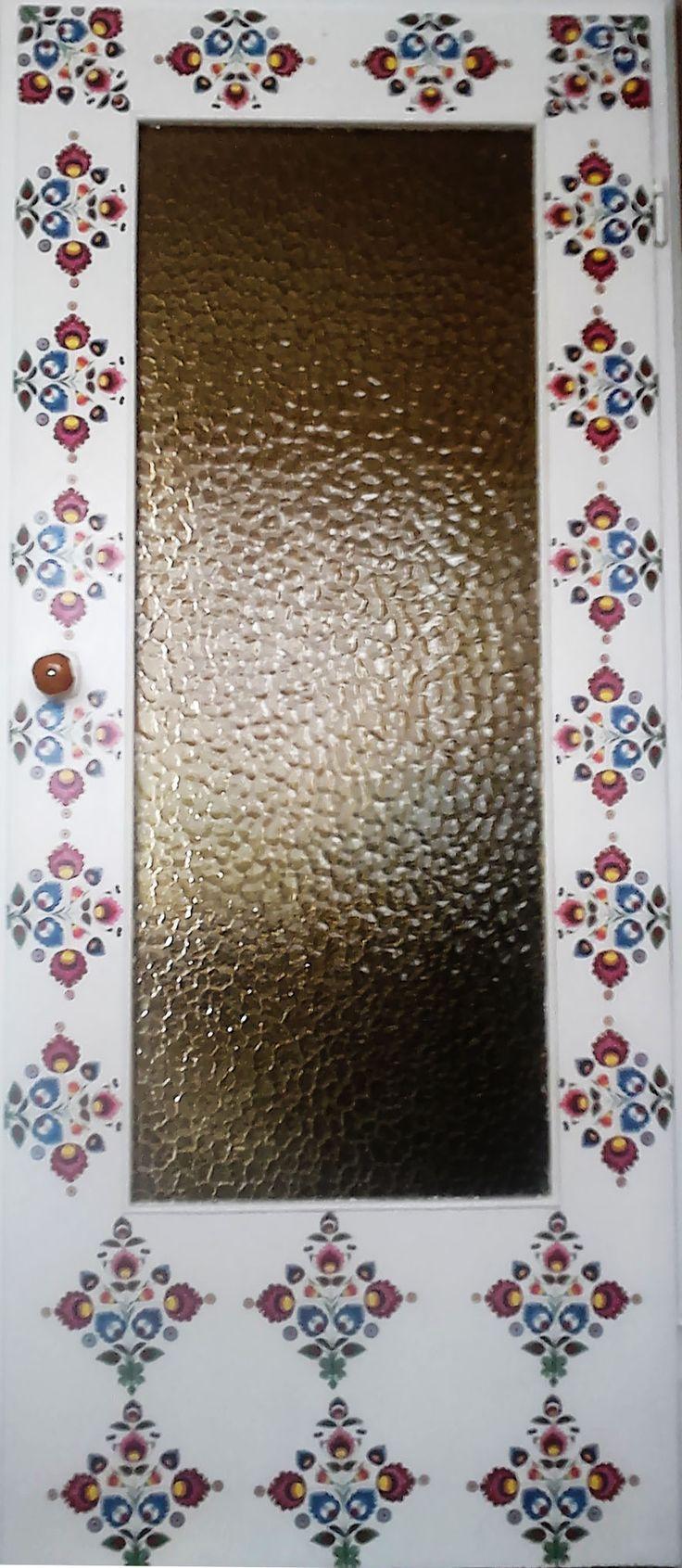 Folk doors. Decoupage technique.  Pattern: Polish paper cutting (Wycinanki) folk art from Łowicz region.