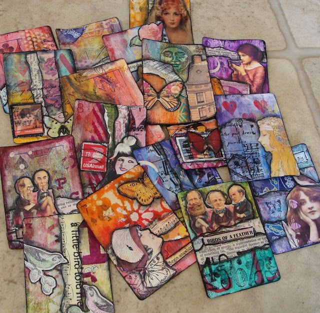 ATCs made with gessoed playing cards as a base.
