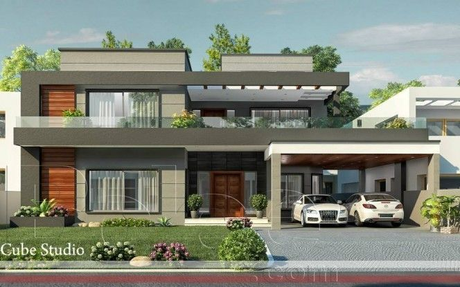 Modern house front elevation designs google search Wide frontage house designs