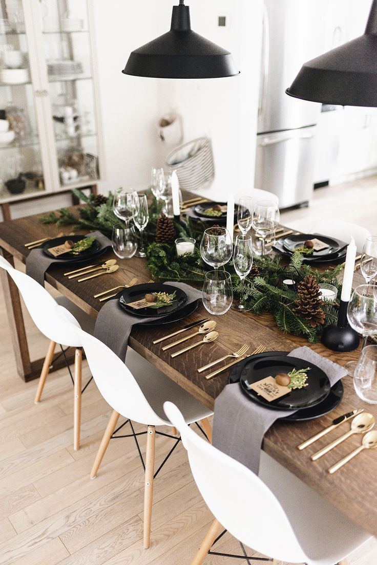 Modern Classic Christmas Tablescape With Gold Flatware Branches Pinecones Happy Grey Lucky Christmas Dining Room Christmas Dining Christmas Tablescapes