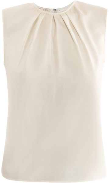 Giambattista Valli Beige Razmir Shell Top.    This cream silk sleeveless blouse has a round-neck with a gathered neckline detail and a zipped centre-back fastening. 100% silk. Dry clean. Country of origin: Italy.