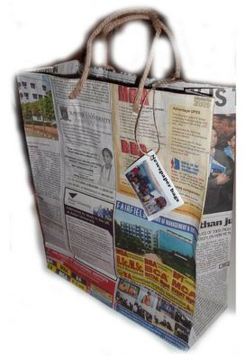 The gift bags from Globally Cute are made from recycled Indian English-language newspapers. They may not be as durable as some of the other options, but they sure are interesting!