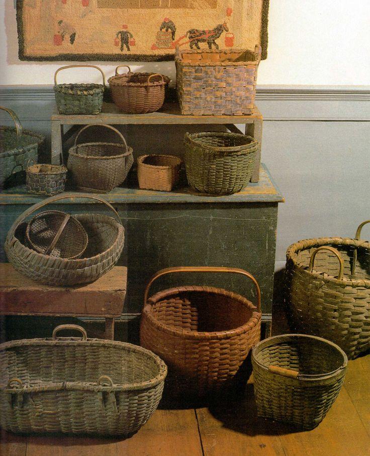 Old Prim Baskets & Wood Chest...