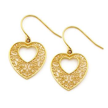 14K gold Filigree Heart Earring on Fish Hook Wires