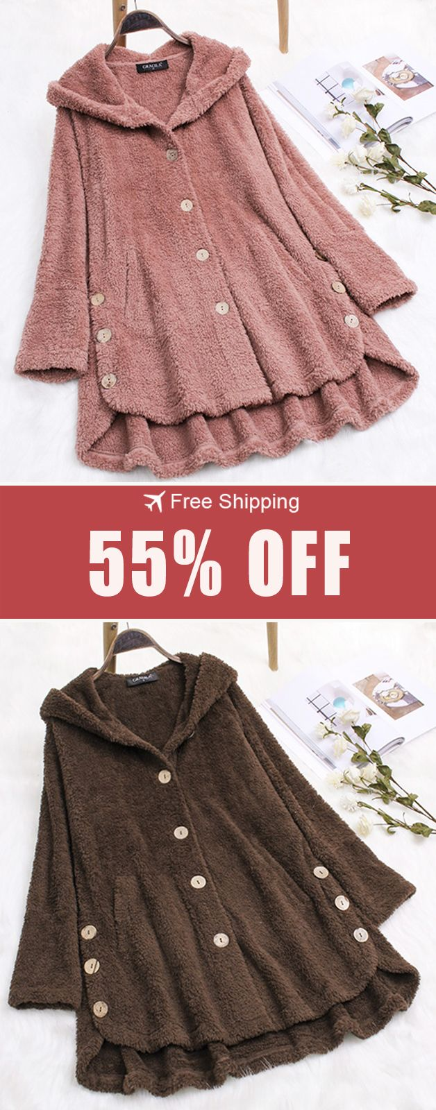 55% off&Free shipping.Plus Size Pure Color Hooded Fleece Coats with Button For W…