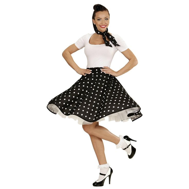 Disfraz de Falda Años 60 Negra #disfraces #carnaval