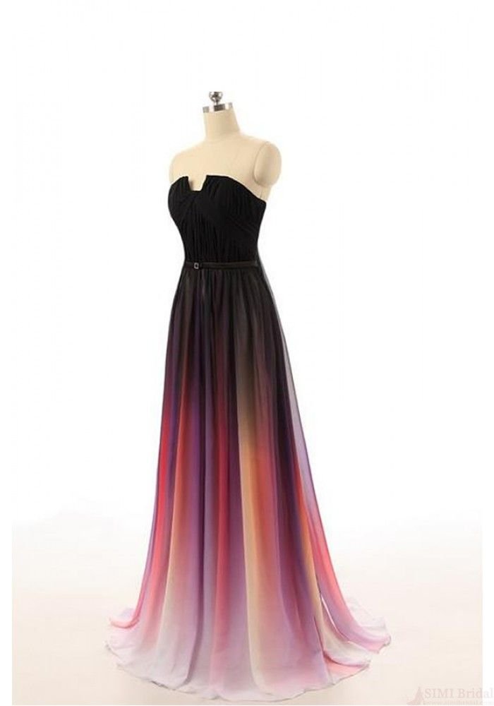 elegant a line ombre long chiffon prom dresses evening dresses party dresses ed0887