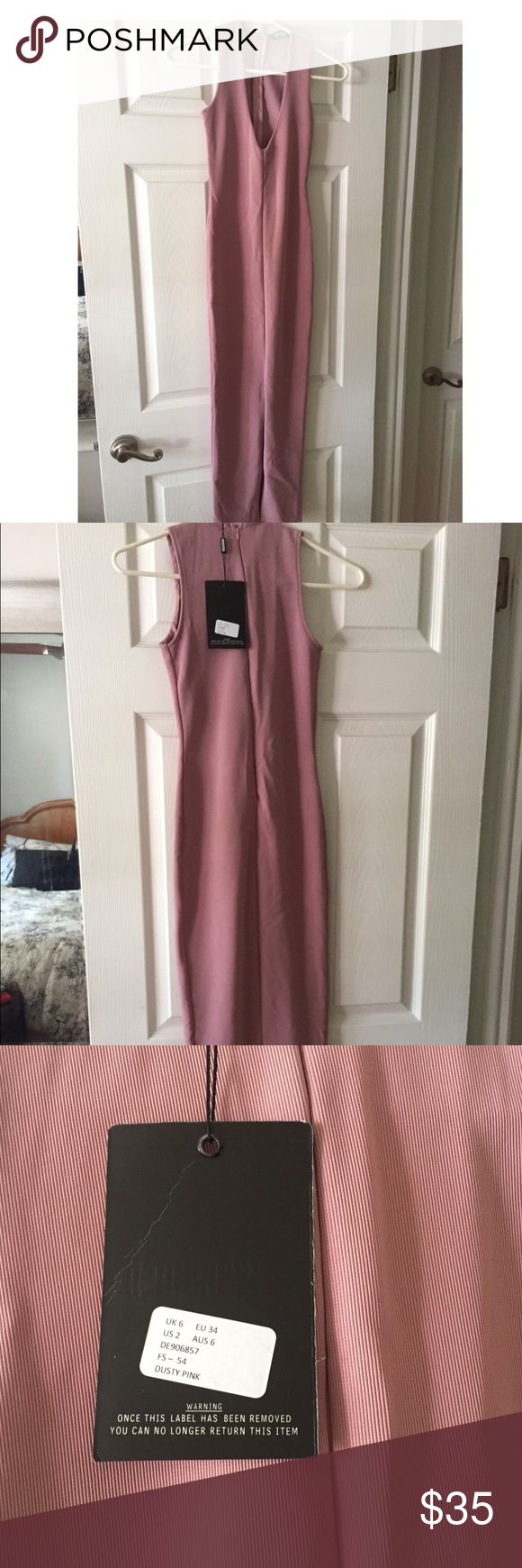 NWT Missguided Midi Dress Dusty pink midi dress with front slit and plunge neck. Dress is still for sale on website but I missed the return window. Never worn - new with tags. Missguided Dresses Midi
