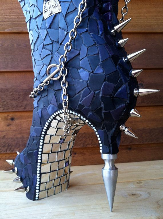 CINDERELLAS ALTER EGO - Unique Mosaic Boot Sculpture Art via Etsy
