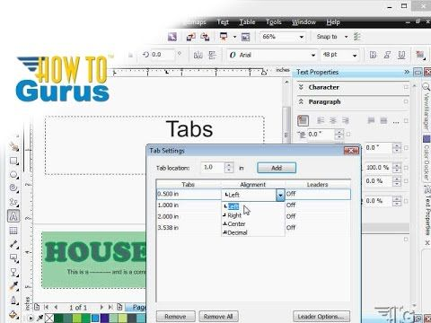 How to use Text Tabs in CorelDRAW 2017 x8 x7 x6 a Corel Draw