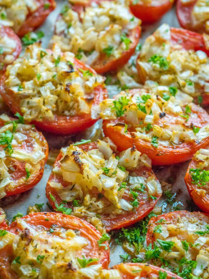 Italian Roasted Tomatoes Recipe Roasted Tomatoes Roasted Tomato Recipes Tomato Side Dishes