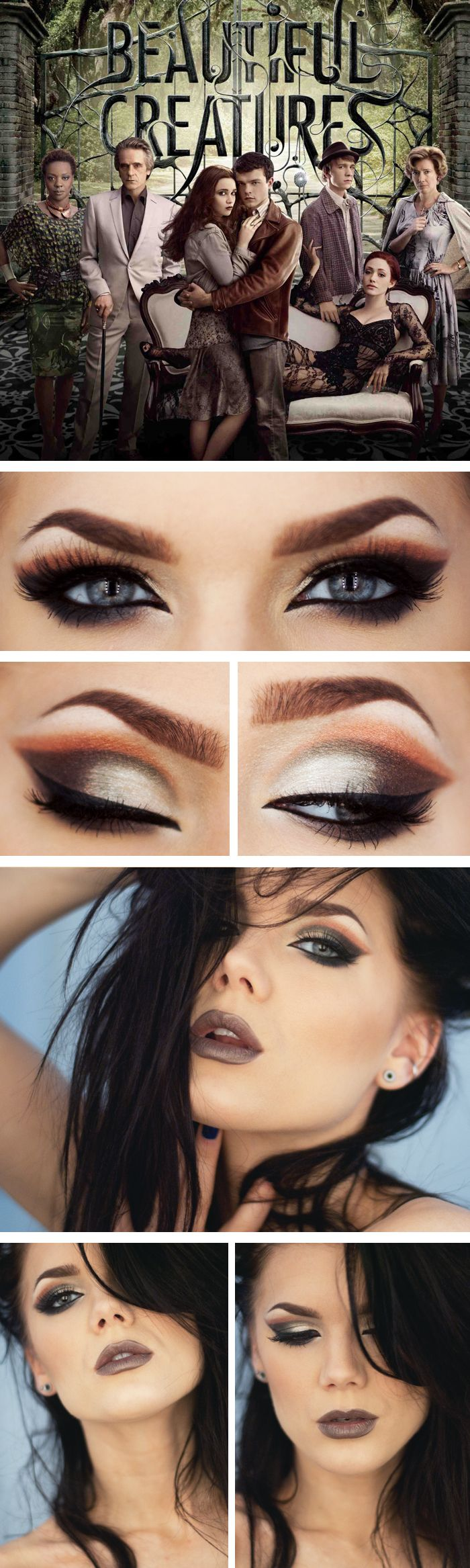 Beautiful Creatures inspired dramatic eyeshadow and face makeup look, using warm and cool color shadow and dark frosty lip, created by makeup artist Linda Hallberg