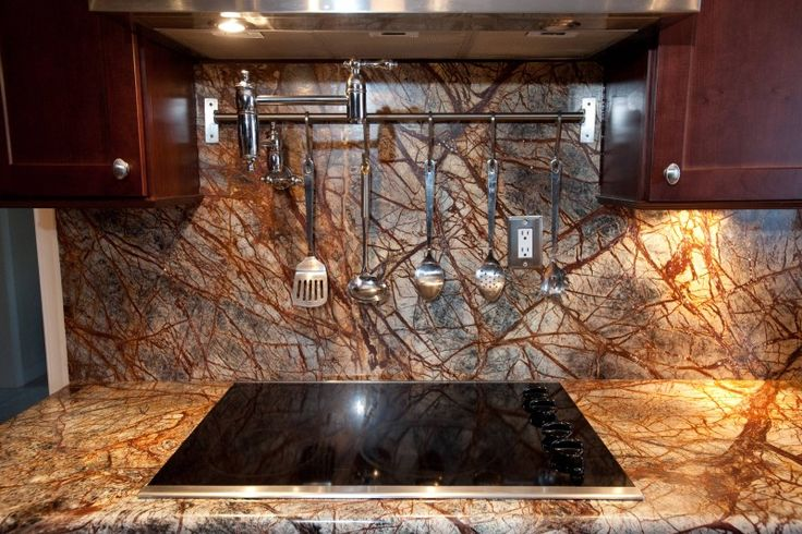rainforest brown granite countertop brown granite backsplash stainless steel appliances brown wood cabinet of Installing Ice Brown Granite Countertop for Your Home Design