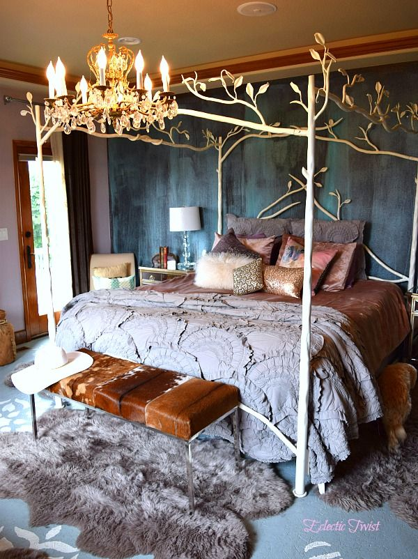 master bedroom, home decor, interior design sofa forest canopy bed brass chandelier cowhide bench anthropologie rivulets quilt blush pink modern masters metallic effects