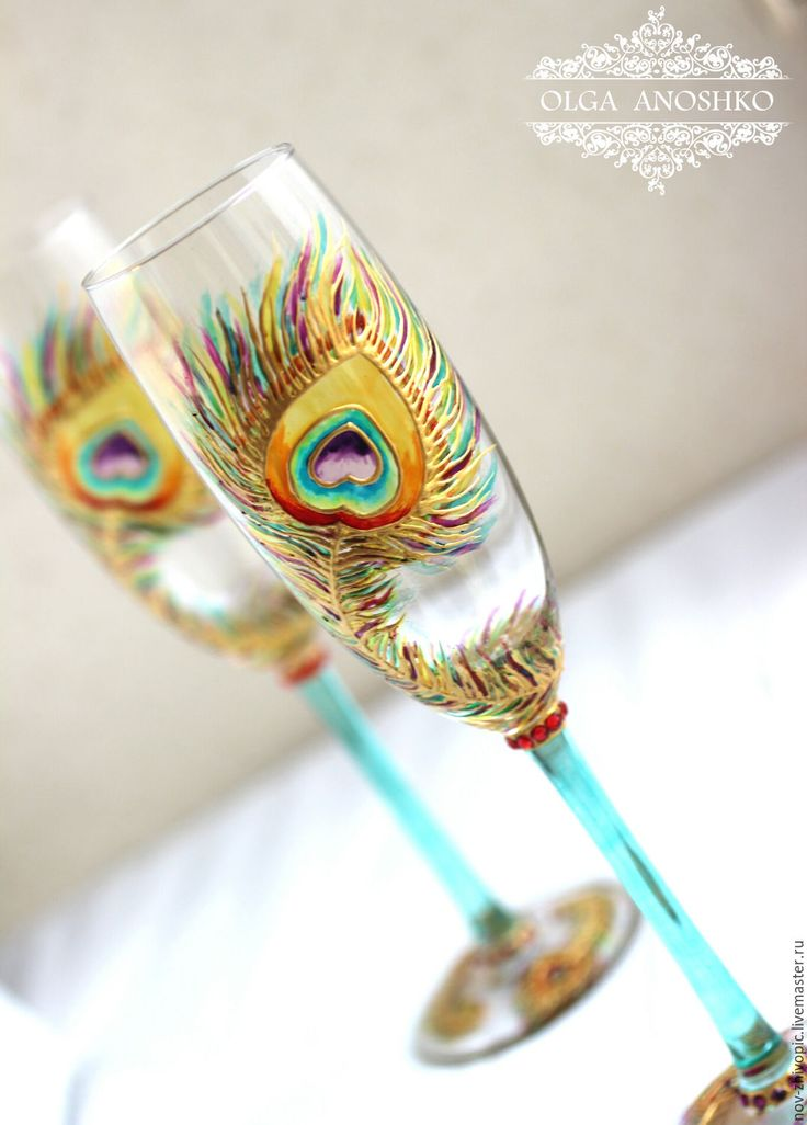 """Купить Бокалы """"Перо Павлина"""". Роспись по стеклу. - Бокалы, свадебные бокалы, бокалы ручной работы"""