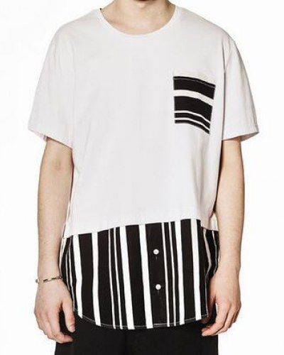Striped color block t shirt for men white fake two piece tshirts