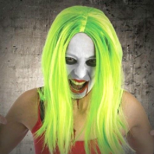Halloween Prop,Party,Fancy Dress Hair Neon Green Witch monster zombie Wizard Wig