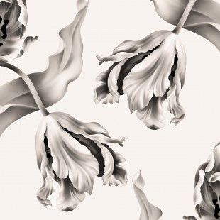 Twisting Tulips Warm White - Wallpaper collection - Webshop - Ellie Cashman Design