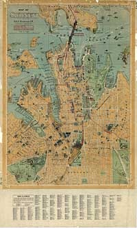 Map of Sydney, 1923.  Large colour map of Sydney published prior to the erection of the Sydney Harbour Bridge.