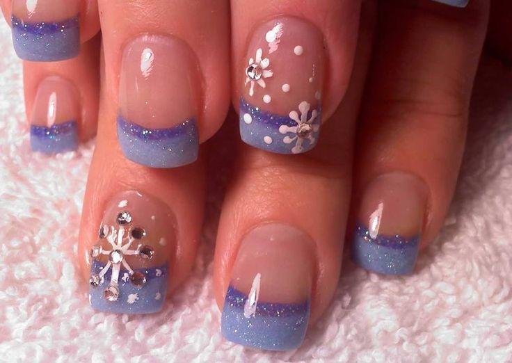 Blå fransk med snöflingor
