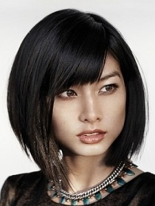 textured bob with solid bangs