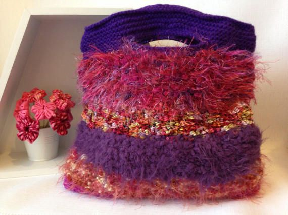 Shades of Pink and Purple knitted Handbag by ByDebz on Etsy