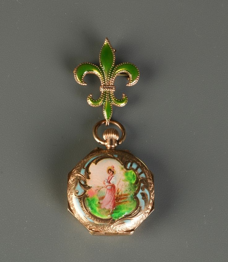 Lot 392 S105 - European 14K Gold Lapel Enameled Lady's Watch - Est. $800-1200 - Antique Reader
