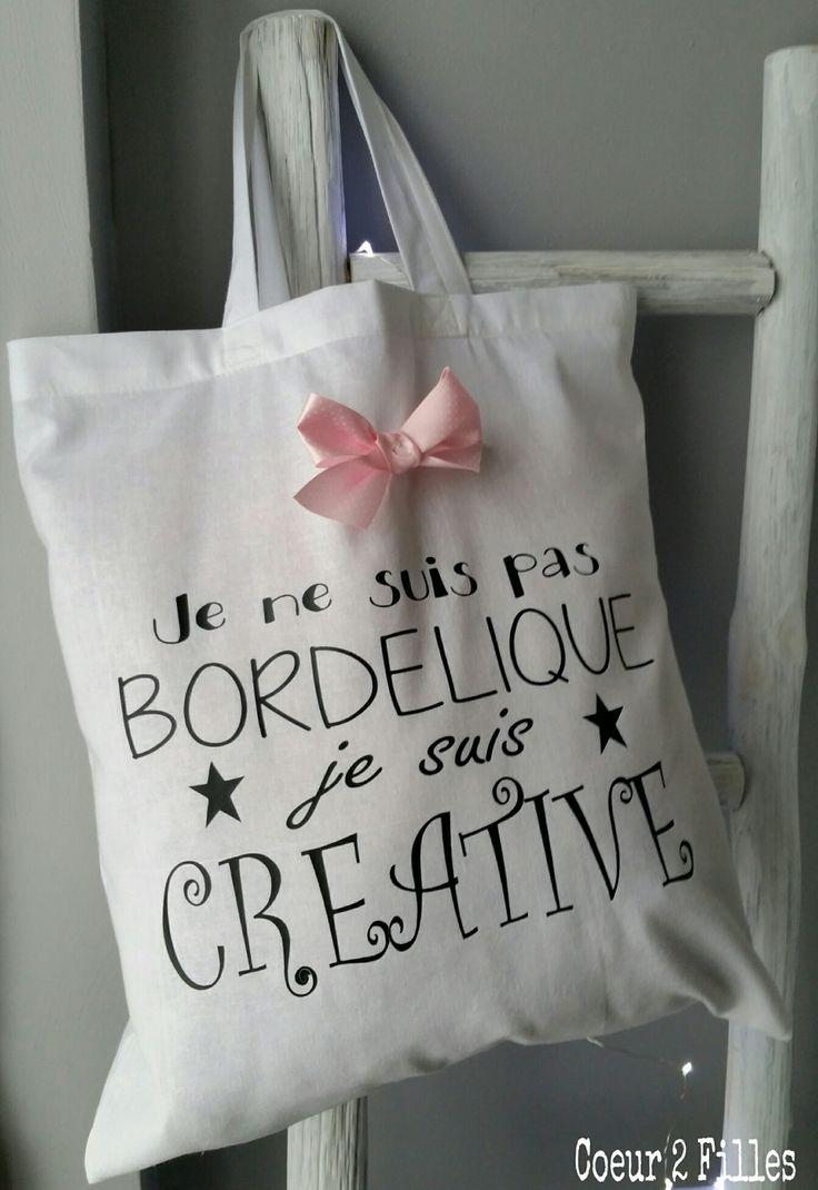 """Tote bag spécial copine """"bordélique"""" ! : Autres sacs par coeur-2-filles"""