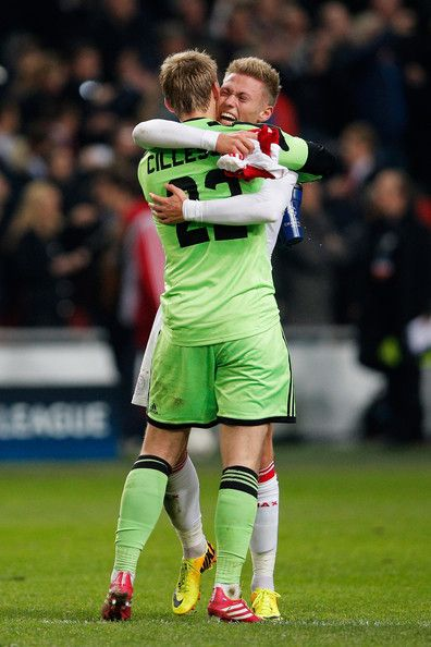 Jasper Cillessen and Viktor Fischer after winning the game against FC Barcelona in the Champions League. historic moment!