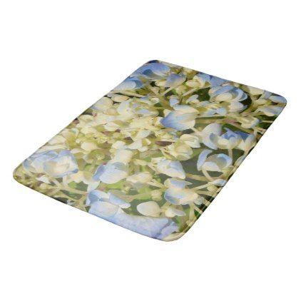 #Blue and creamy white hydrangea flowers photo bath mat - #Bathroom #Accessories #home #living